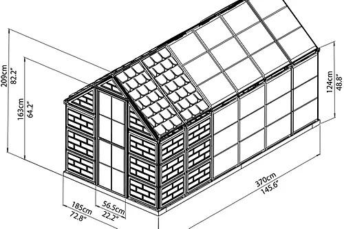 תרשים לחממה ביתית משולבת מחסן